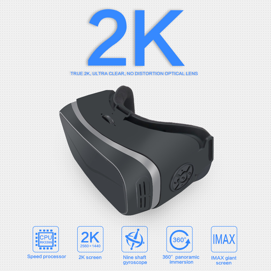 VR Glasses Virtual Reality Box Goggles VR Headset All In One HDMI RK 3399 Android 6.0 2560*1440 2K Display 3 D Glasses 2GB/16GB 3d vr box virtual reality goggles h2 android 2560 1440p all in one vr glasses helmet video movie game wireless bluetooth gamepad