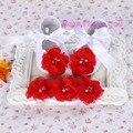 Bautismo bebé recién nacido zapatos marca, zapatos de bebé de la bailarina, zapatitos de bebé diadema set, pequeño bebé walker, zapatos bebe
