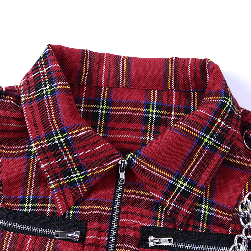 HTB19FV6eoKF3KVjSZFEq6xExFXaH - Gothic Chic Sexy Crop Tops Women T-shirt White Black Plaid Punk Streetwear Zipper Chain Plaid Female Goth Retro Hi Hop Camis Top