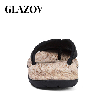 GLAZOV Brand Men's Flip Flops High Quality Genuine Leather Luxury Slippers Beach Casual Sandals Summer for Men Fashion Shoes New 1