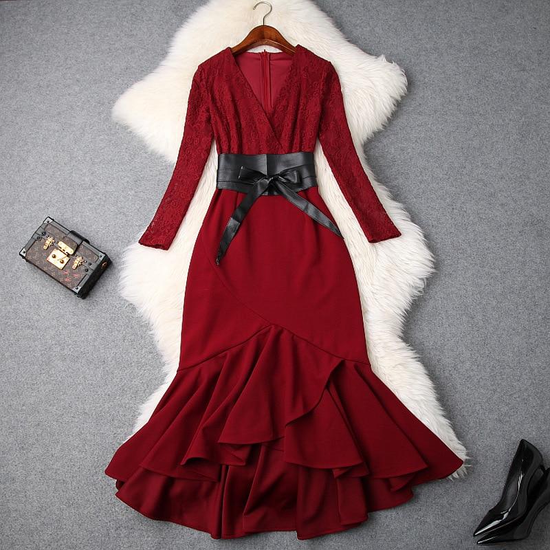 2018 Sirène Dentelle Femmes Hiver Manches Asymétrique rouge Nouveau Robes Noir Patchwork Sexy Pu Col V Rouge Noir En Automne Robe Ceintures z66qdxwr