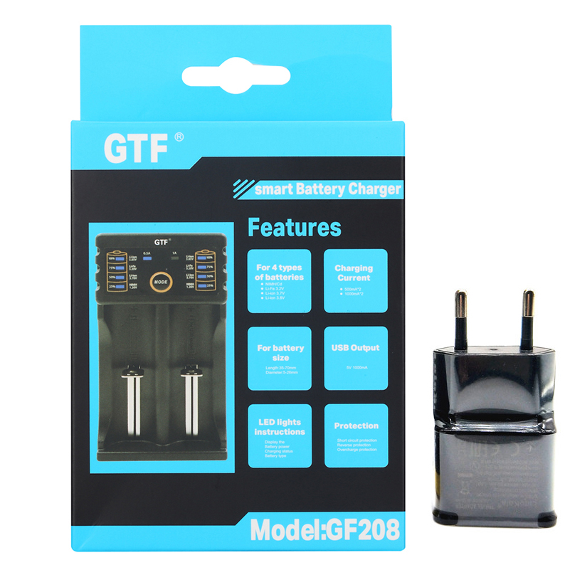 GTF New GF208 18650 <font><b>Battery</b></font> Charger For 26650 16340 RCR123 14500 LiFePO4 <font><b>1.2V</b></font> <font><b>Ni</b></font>-<font><b>MH</b></font> <font><b>Ni</b></font>-Cd 5V 2A USB plug For AAA <font><b>AA</b></font> 18650 cells image