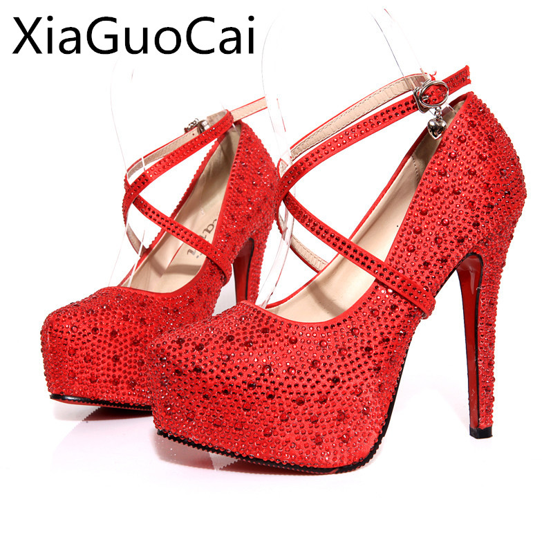 2016 Newest Style Fashion Pumps With Rhinestone Red & White 11cm Super High <font><b>Heel</b></font> Ladies' Wedding Party Shoes c231 <font><b>15</b></font> image
