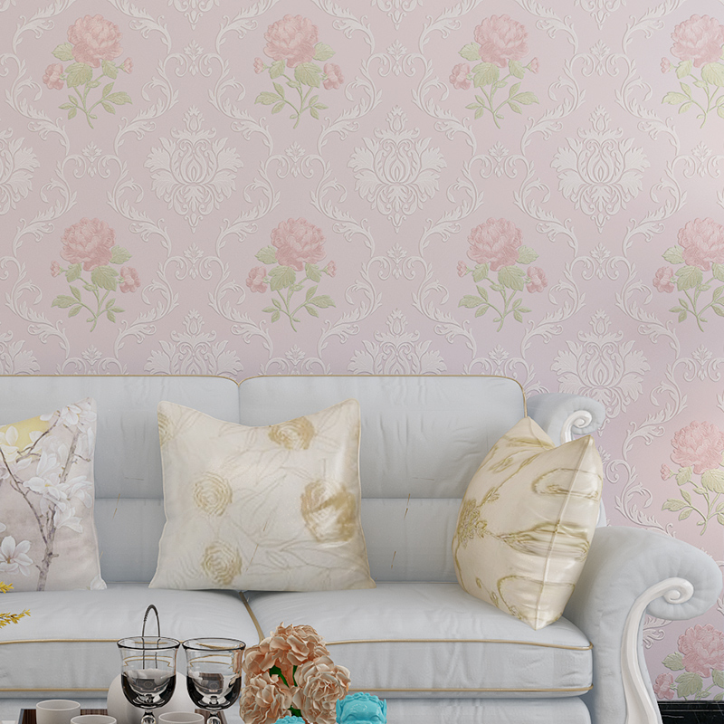 Купить с кэшбэком Garden Style Flower Wall Paper Bedroom Living Room TV Sofa Background Pink White Beige BlueWall Paper Roll