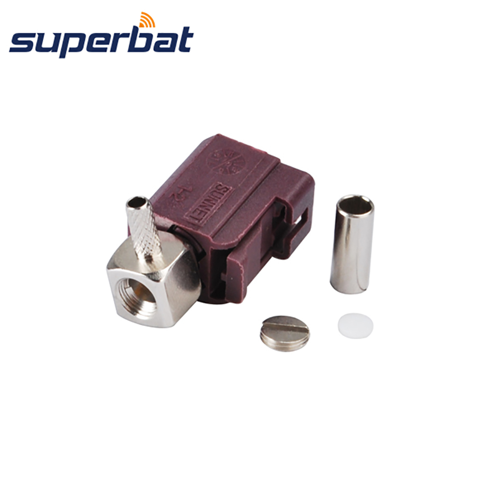 Superbat Fakra D Crimp Female Jack Connector Right Angle For Cable RG316 RG174 LMR100 For Violet Car GSM Cellular Phone