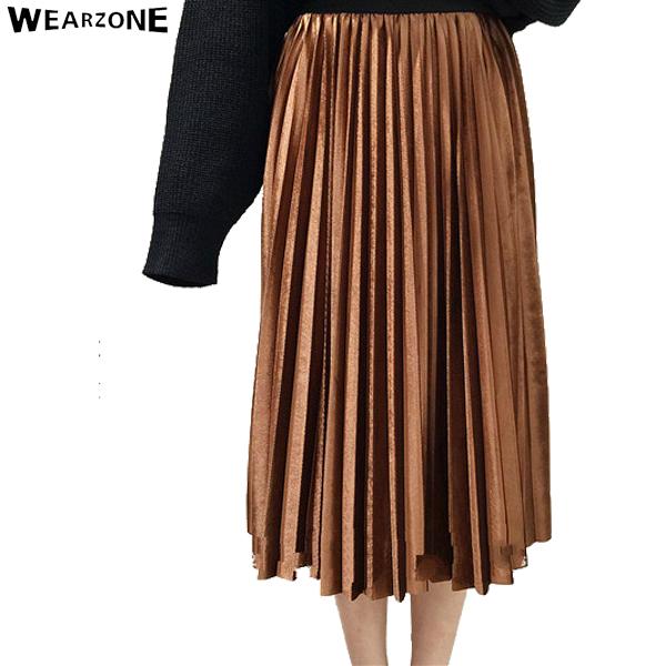 2017 de las mujeres falda larga de terciopelo metálico plisada sólido señoras jupe femme wearzone alta cintura elástico de la cintura falda plisada 7 colores