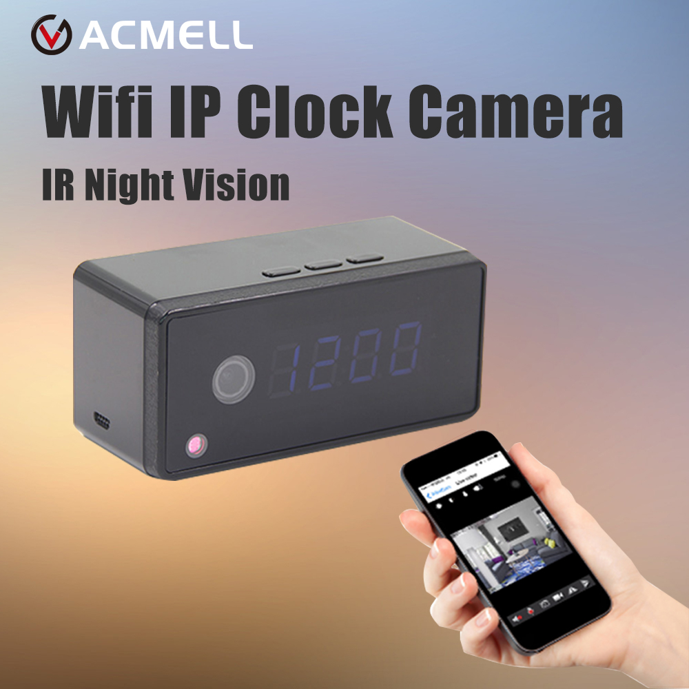 Prix pour Wifi Horloge Caméra Réglage de L'alarme 720 P HD H.264 IP Mini Kamera nuit Vision Tableau Horloge Caméra Vidéo Cam Mini DV DVR Caméscope