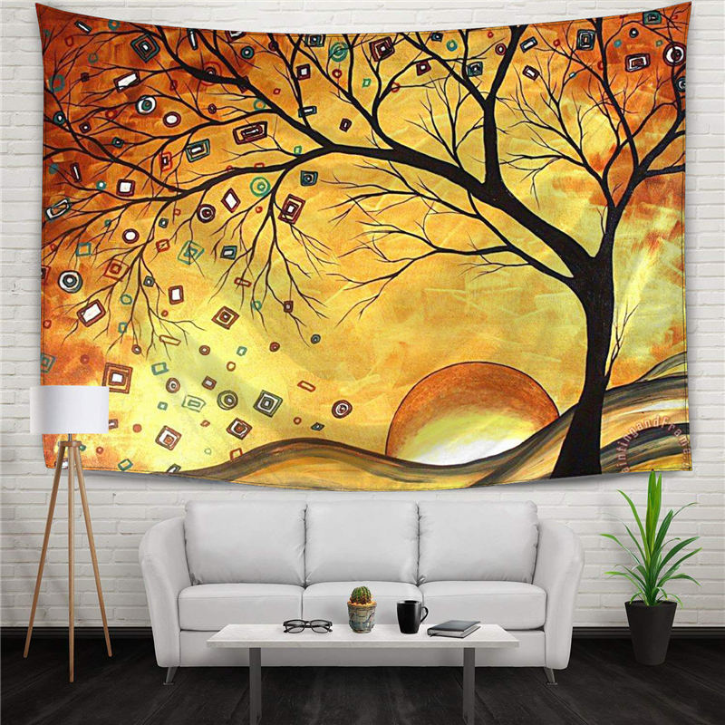 Tree Of Life Dreaming In Gold Digital Printed Hippie Tapestry Bed Wall Decor Hanging Curtains Christmas Tree Banner 130x150cm