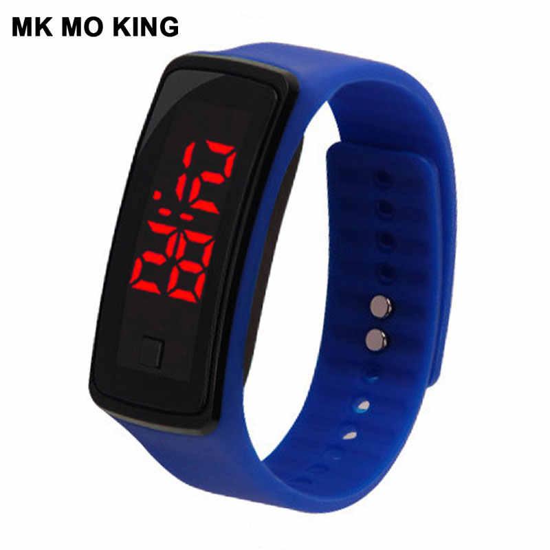 Moda kore LED erkek kadın spor elektronik bilezik izle rahat silikon şeker renk kol saati saat kız hediyeler dw mk