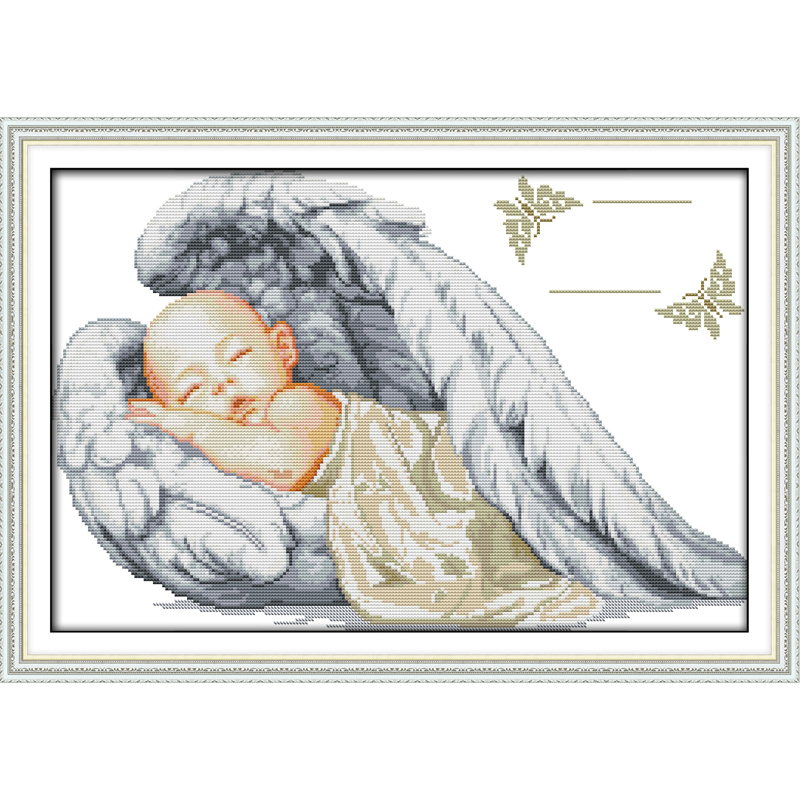 Everlasting love Christmas Little angel birth Ecological cotton Chinese cross stitch kits 14 CT counted stamped sales promotion