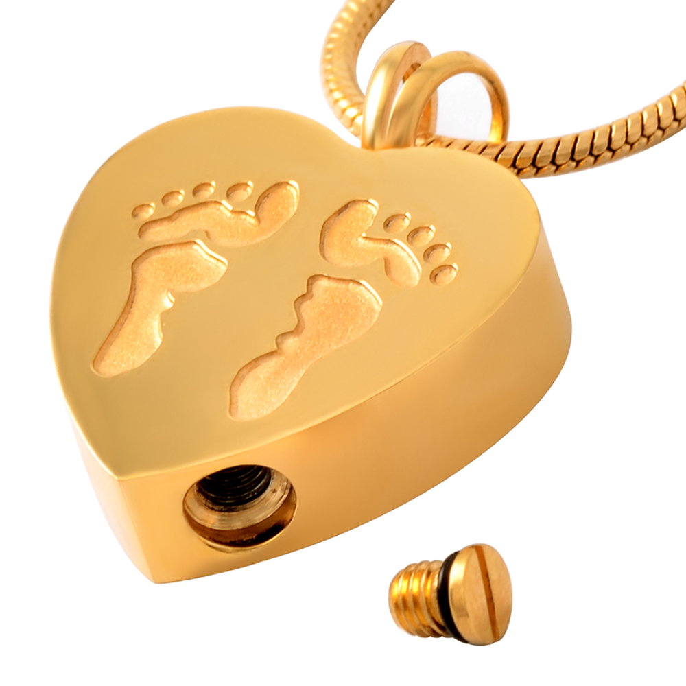 MJD8006 Gold Footprint Heart Shape Stainless Steel Ash Pendant Cremation Jewelry Urn Necklace