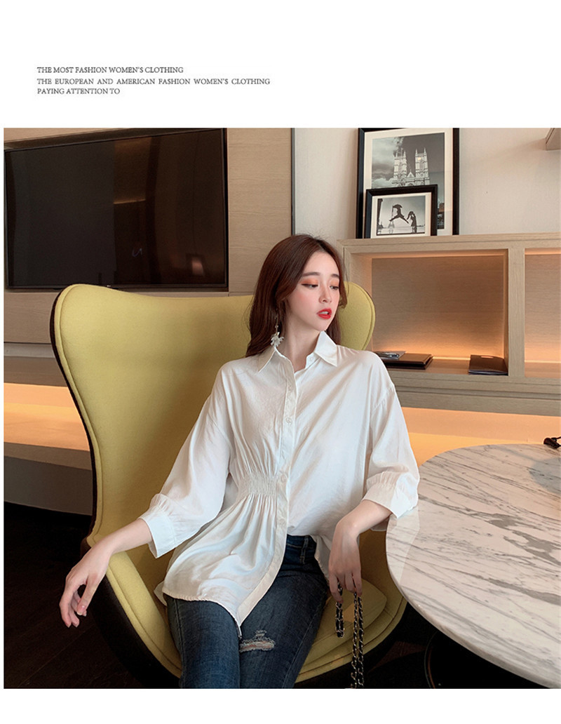 2019 Summer New Korean Version Of The Wild Long Paragraph 7 Points Sleeves Waist Loose Thin Temperament White Shirt Women (3)