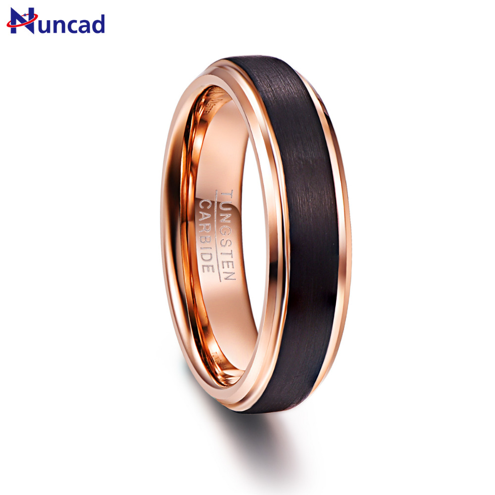 Nuncad 6mm Rose Gold Color Black Brushed Tungsten Rings