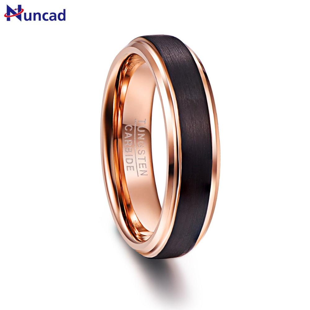Nuncad 6mm Rose Gold Color Black Brushed Tungsten Rings