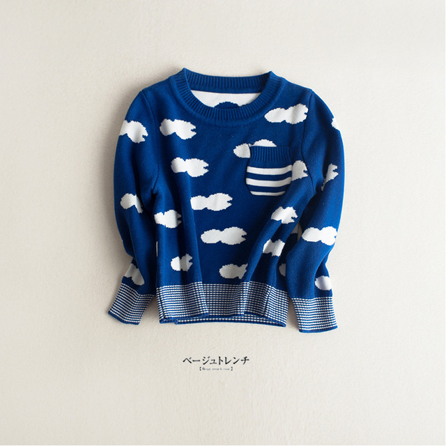 Детские осень-весна пальто свитер дети повседневная с длинным рукавом свитера вязать дети голубые белые облака кардиган для мальчиков девочек