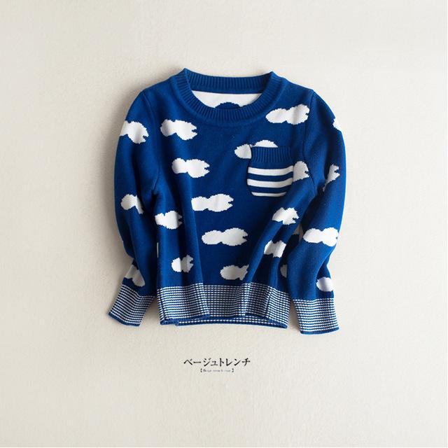 Primavera do bebê do outono crianças camisola casaco casuais de manga comprida blusas de malha cardigan para meninas dos meninos das crianças azul nuvens brancas