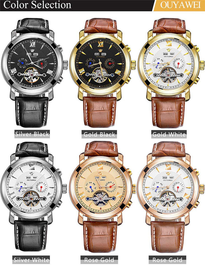 Mechanical Watch Mens Top Men\`s Automatic Mechanical Watches Wristwatch Leather watch relogio masculino (10)