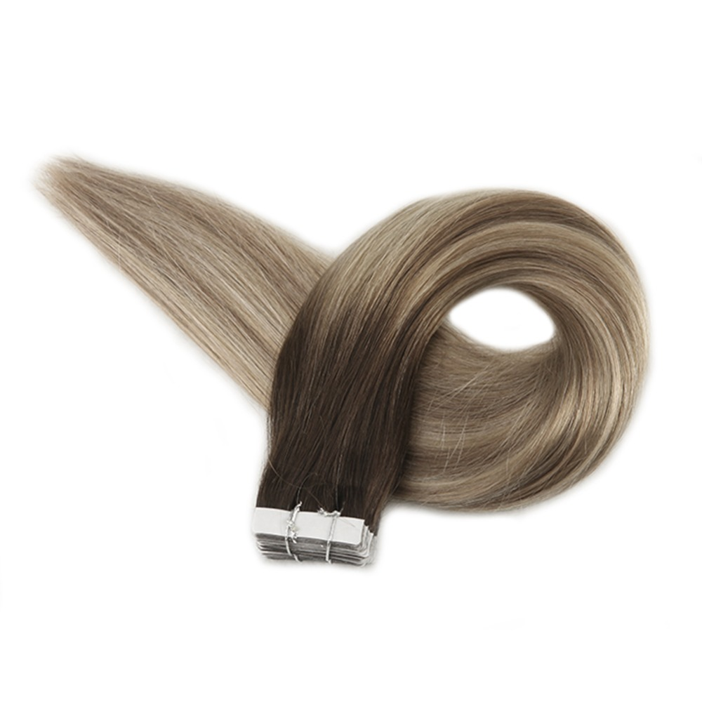 Full Shine Tape in Hair Extensions Balayage Color Seamless 100 Remy Human Tape Hair Extensions 50