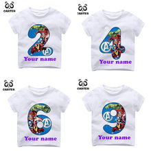 Kid's Happy Birthday Avengers Number 1~9th T-shirts Boy and Girl Superhero Tshirt Baby Spiderman Number Top Children Clothes(China)