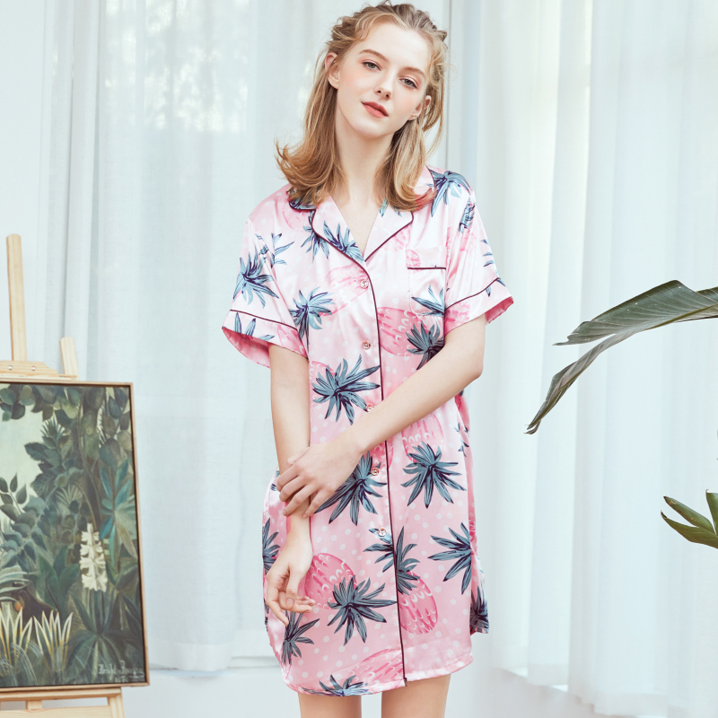 SSH0360 Satin Silk Sleepwear Women Nightwear Lady Printed Sexy Summer Nightdress Female Silky   Nightgown     Sleepshirts   Night Dress