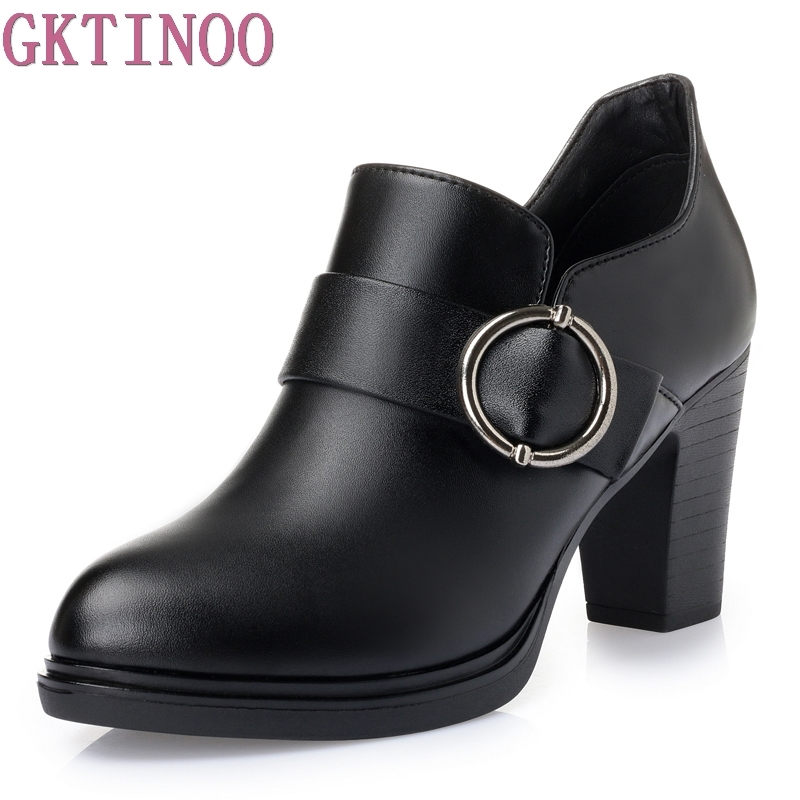 Spring Autumn 2017 Black Women Pumps Thick High Heels Genuine Leather Shoes Deep Mouth Platform Working Shoes Woman