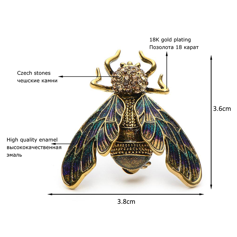 Купить с кэшбэком Wuli&Baby Rhinestone Alloy Gold Silver Color Cicada Brooches For Women And Men Crystal Enamel Brooch Pins Christmas Gifts