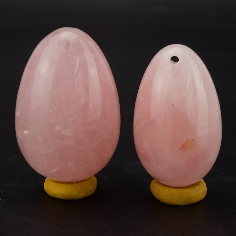 2 pcs/set Drilled Natural Rose Quartz Egg Yoni Egg for Kegel Exercise Pelvic Muscle Vaginal Tightening Health Care 3 pieces small size 30mm 20mm pink quartz kegel exercise yoni eggs for women health and muscles training