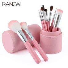 RANCAI 10pcs Makeup Brush Set Powder Foundation Blusher Lip Eyeliner Eyeshadow Eyebrow Blending Contour Brushes with Cylinder