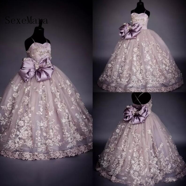 все цены на Luxury Real Picture Flower Girl Dresses Bow Beads Applique Kids Floor Length Formal Dress Birthday Dress Girls Pageant Gown онлайн