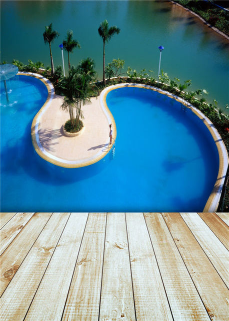 Kidniu Swimming Pool Background Wooden Floor Photo Studio Props 5x7ft Or 3x5ft Photography Backdrops Vinyl Jieqx216