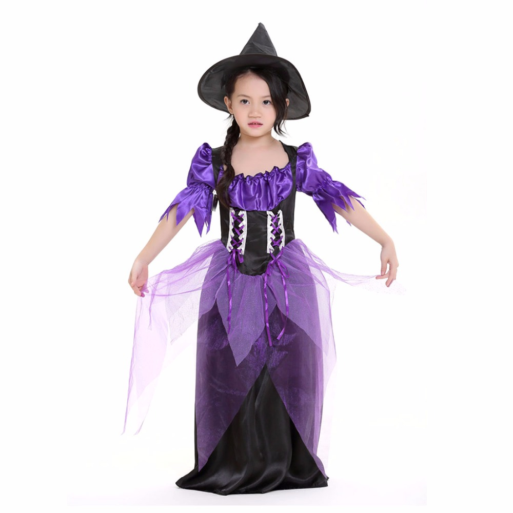 Kids Witch Costume Black and Purple Dress Black Magic Wizard ...
