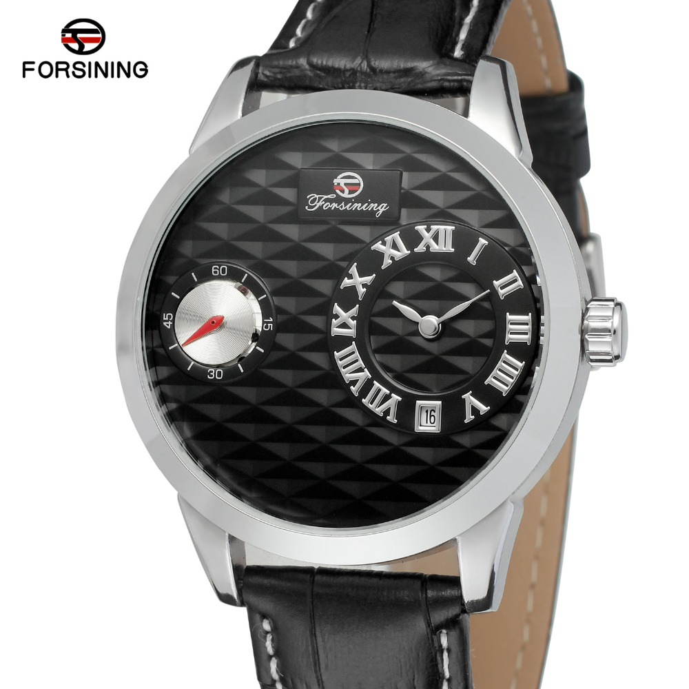 Forsining Men s Watch High End Quartz and Automatic Movement Leather Strap Brand Roman Number Wristwatch