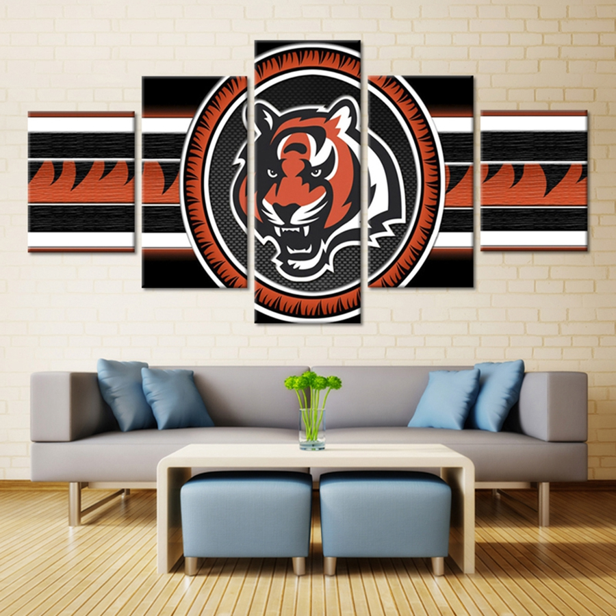 tiger sport logo cincinnati bengals american football team oil painting fashion wall art on canvas for bedroom home decor cap