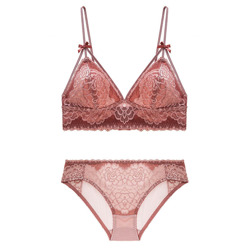 Image 4 - CNIOON  New French Style Sexy Lingerie Floral Lace Underwear Push Up Bra Sets wireless Comfortable Lace brassiere Lingerie set-in Bra & Brief Sets from Underwear & Sleepwears