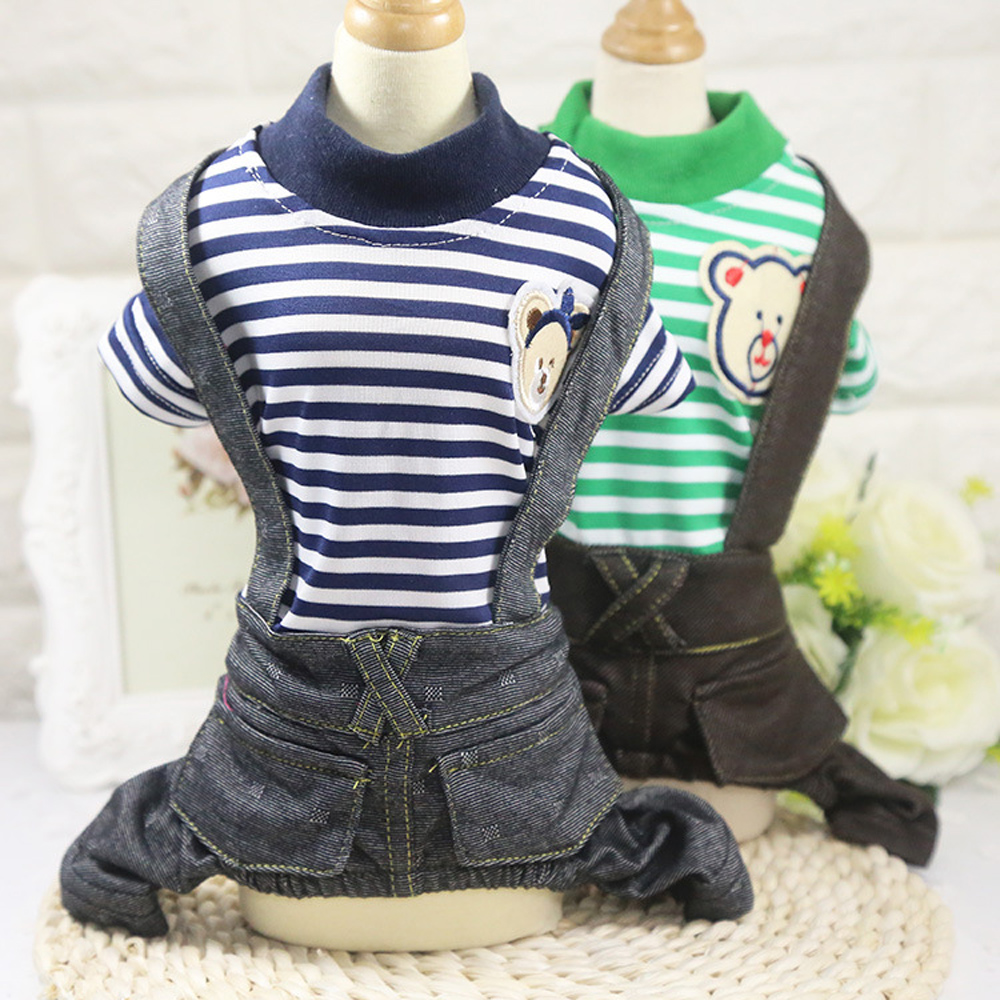 Cute Spring Pet Dog Clothes Striped Style Pet Pagliaccetti Puppy Dog Jean Tute Cane Cappotti 2 Colori XS-XXL Per Chihuahua