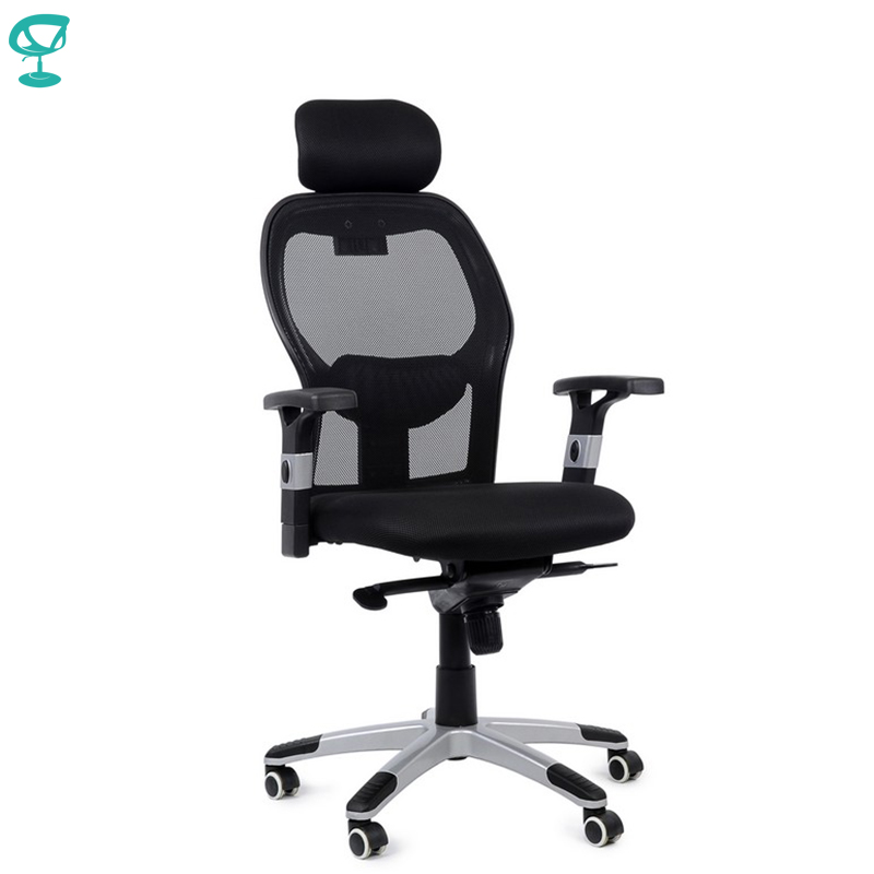 95151 Black Office Chair Barneo K-127 Fabric And  Mesh High Back Chrome Armrests Withgas Lift Roller Free Shipping In Russia