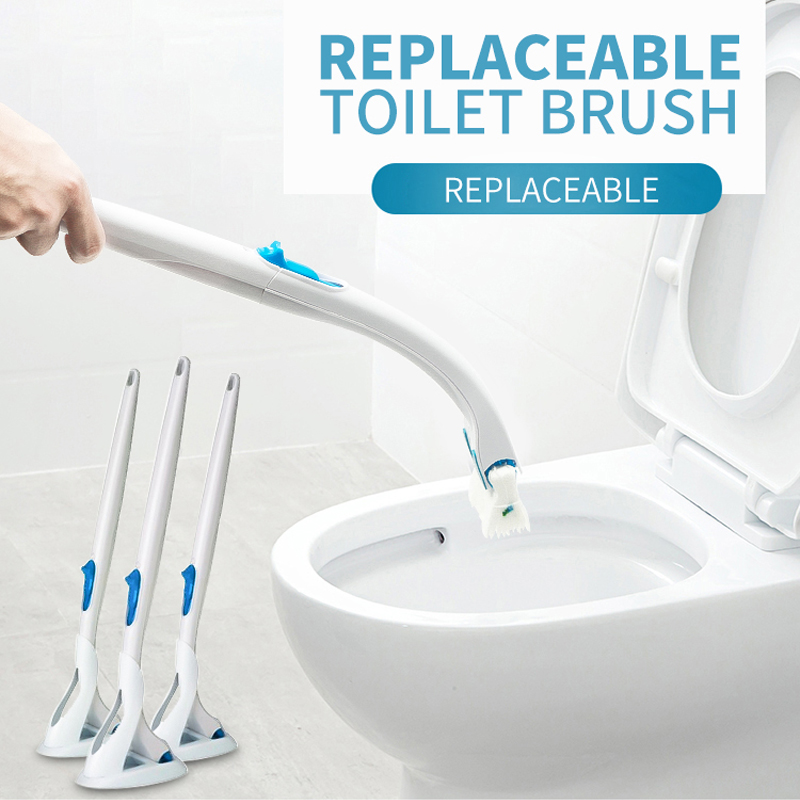ZOYUN Disposable Long Handle Toilet Bowl Brush Holder Without Dead Angle Cleaning Set Replacement Creative Bathroom Accessories