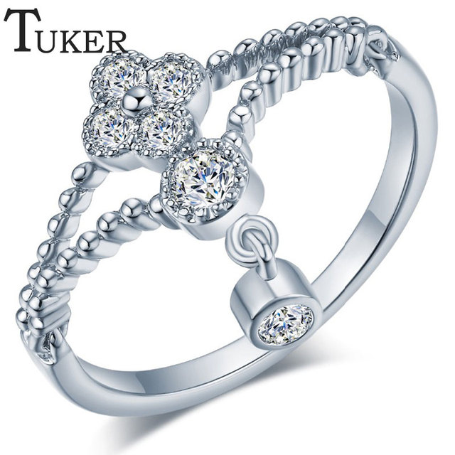 TUKER New Fashion Clover Wedding Ring Studded CZ Gold Silver Rings