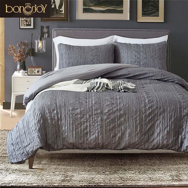 bonenjoy american style quilt cover sets fold plaid solid color bedding dark grey bedclothes. Black Bedroom Furniture Sets. Home Design Ideas