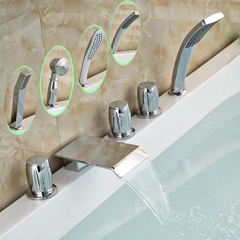 Polished Chrome Waterfall Bathtub Faucet Set 5 PCS with ABS Handshower
