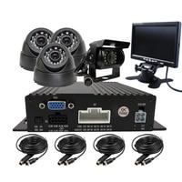 Free Shipping 4 CH 720P AHD Real Time Record SD Car DVR Recoder Kit 4 Pcs