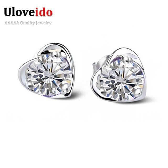 White Purple Cz Diamond Sparkly Earrings Jewelry For Kids S Wedding Bridal Accessories Women Silver