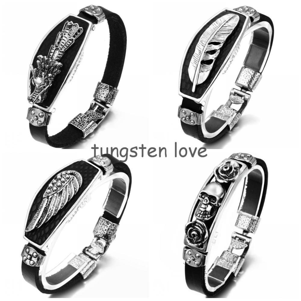 20cm Unique Alloy & Black Leather Bracelet For Men 2014 Angle Wing, Feather,  Dragon