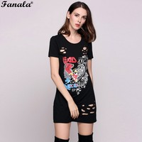 FANALA 2017 Fashion Summer Beach Women T Shirt Dresses Short Sleeve Animal Print Black Hole Dress