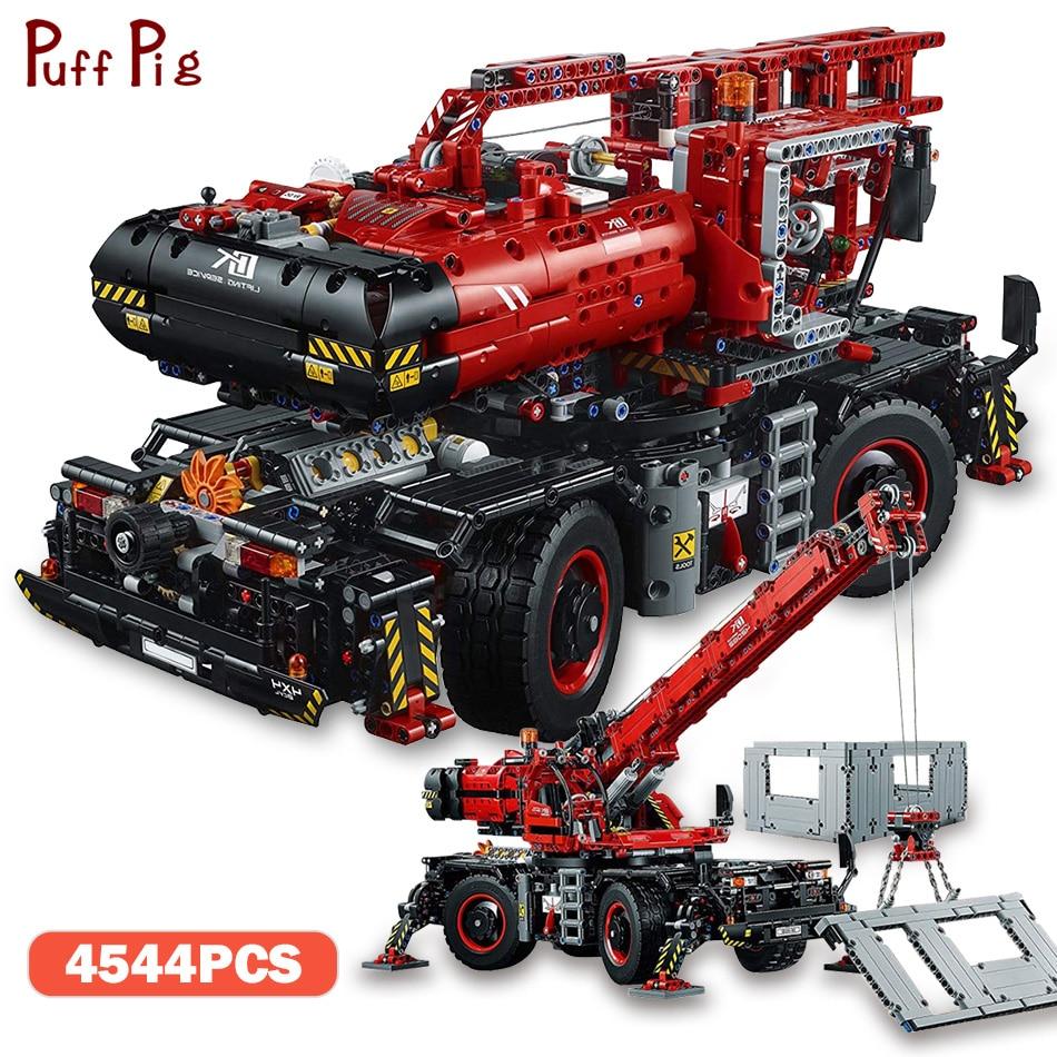 4544pcs Technic Rough Terrain Crane Set Model Building Blocks Self-Locking Bricks Compatible Legoing Technic Toys For Child Gift цена