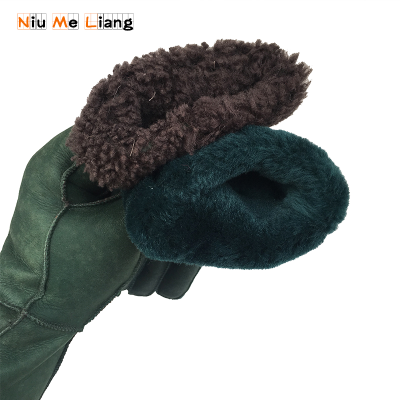 Gloves Green color 2018 Women Winter Leather gloves New sheep fur gloves female manual fashion mittens Girls leather gloves G26