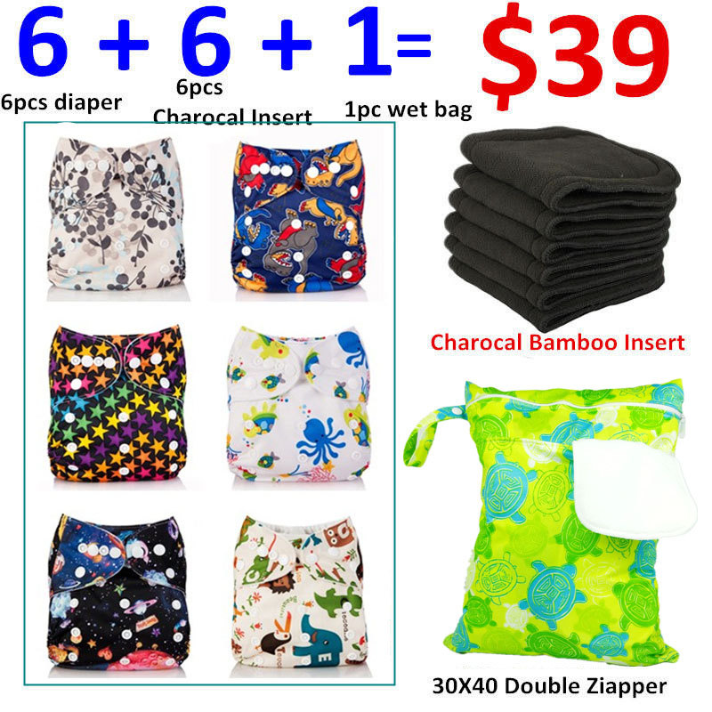 [Mumsbest] 13pcs/lot 6 Diapers +6 Insert + 1 Big Size Wet Bag Baby Cloth Nappy Boy Girl Set Packing Each set fitted Baby Nappies idore baby diapers l 60pcs disposable nappies ultra thin large absorb capacity breathable 6dtex non woven fabric infant nappy