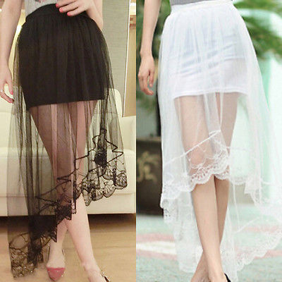 2017 Vintage Skirt Women Mesh Perspective Lace Tail Stretch High Waist Plain Skater Flared Pleated Long Skirts Black White