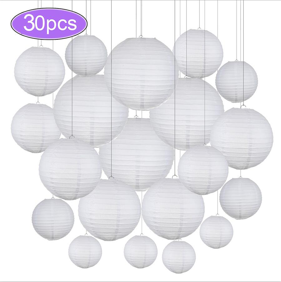 30pcs/Lot 4''-12'' Mix Size Chinese Paper Ball Lampion Hanging White Wedding Decoration Paper Lanterns Lampshade Party Decor