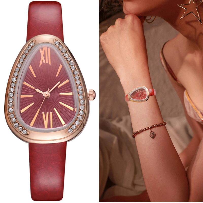 Watches Women Red Leather Strap Ladies Sport Watch Snake Rhinestone Creative Dial Triangle Fashion Luxury Dress Quartz Watch